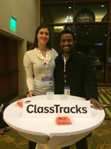 Founder Thierry and Lida manning the ClassTracks table at SXSWedu 2015
